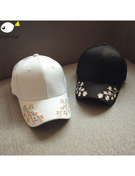 Cap Women Black Pink Baseball Cap Women Black Flowers White Caps Embroidery by Ugly Fish Official Store