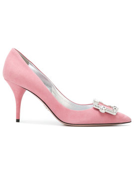 Crystal Buckle Pumps by Prada