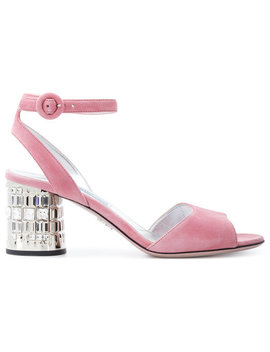 Crystal Heeled Sandals by Prada