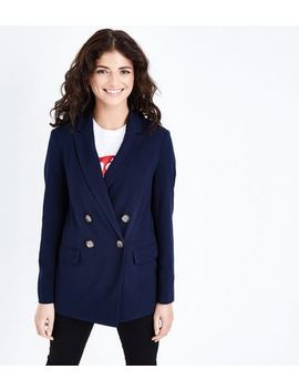Navy Double Breasted Blazer by New Look