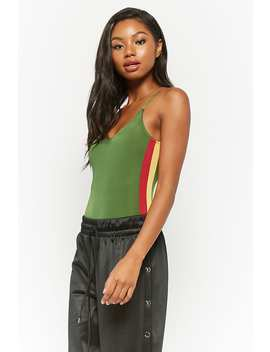 Side Striped Bodysuit by Forever 21