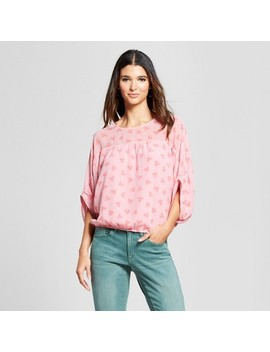 Women's Printed 3/4 Sleeve Bubble Hem Blouse With Sheer Panel   Éclair Pink/Red by Eclair