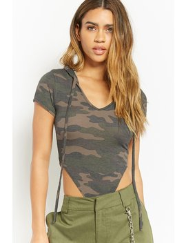 Hooded Camo Thong Bodysuit by Forever 21