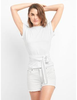 Softspun Short Sleeve Wrap Belt Top by Gap