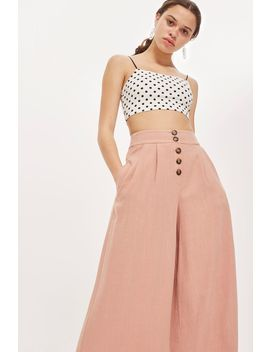 Horn Button Crop Wide Leg Trousers by Topshop