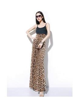 Ddsol Leopard Wide Leg Pants Women High Tie Waist Loose Bell Bottom Trousers Summer Pattern Long Culottes Chiffon Skirt Pants by Ddsol Official Store