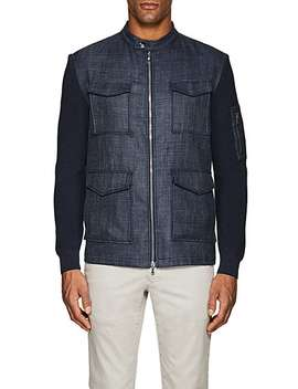 Knit Sleeve Virgin Wool Blend Field Jacket by Fioroni
