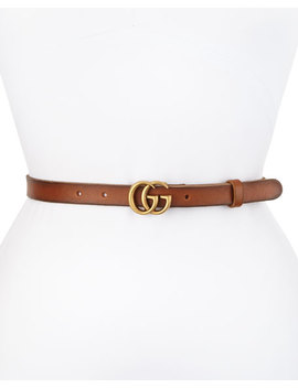 Thin Gg Leather Belt, Brown by Gucci