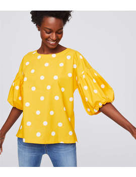 Polka Dot Bubble Sleeve Top by Loft