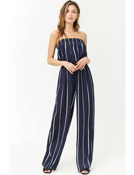 Satin Striped Strapless Jumpsuit by Forever 21
