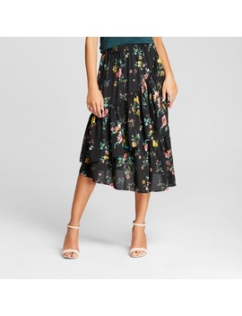 Women's Floral Asymmetrical Ruffle Skirt   Alison Andrews Black by Alison Andrews