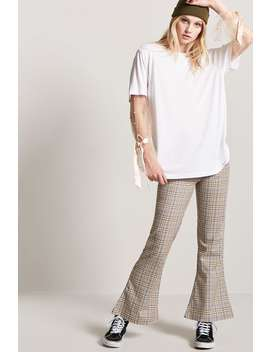 Glen Check Flare Trousers by Forever 21