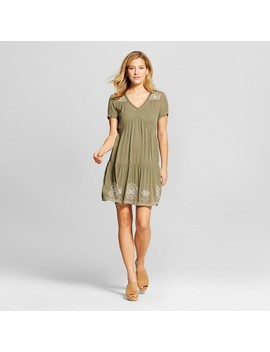 Women's Embroidered Shift Dress   Knox Rose™ Olive by Knox Rose™