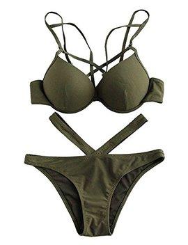 Sweaty Rocks Women's Sexy Bathing Suits Criss Cross Solid Cutout Bottoms Bikini Swimsuit by Sweaty Rocks