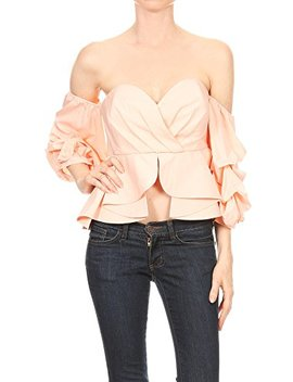 Color Era Chic Women's Off The Shoulder Blouse Crop Top With Puff Ruffle Sleeves. by Color Era