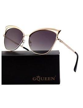 Gqueen Women's Oversized Polarized Metal Frame Mirrored Cat Eye Sunglasses Mt3 by Gqueen