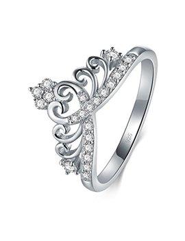 925 Sterling Silver Cubic Zirconia Princess Crown Tiara Wedding Cz Band Eternity Ring by Boruo