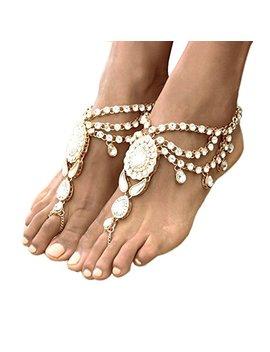 Ingemark 2 Pcs Crystal Beach Wedding Foot Jewelry Barefoot Sandals Toe Ring Boho Anklet With Multi Tassel by Ingemark