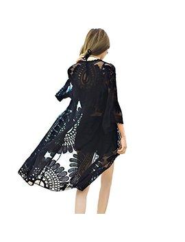 Shermie Women's Floral Crochet Lace Beach Swimsuit Cover Ups Long Vintage Kimono Cardigan by Shermie