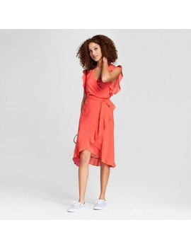 Women's Short Sleeve Ruffle Wrap Dress   A New Day™ Coral by A New Day™