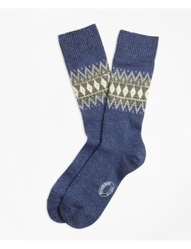 Fair Isle Wool Silk Blend Socks by Brooks Brothers