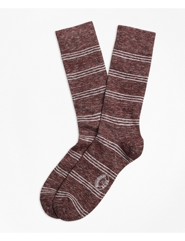 Marled Tri Stripe Cotton Wool Blend Socks by Brooks Brothers