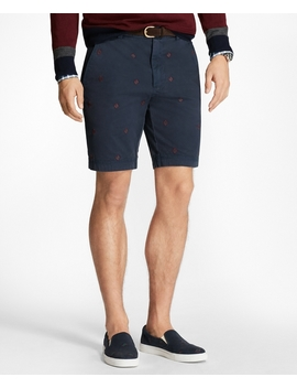 Foulard Embroidered Stretch Cotton Twill Shorts by Brooks Brothers