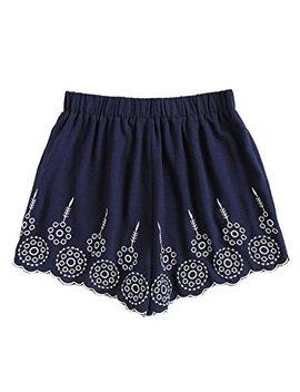 Sweaty Rocks Women's Vintage Floral Embroidery Drawstring Summer Casual Shorts by Sweaty Rocks