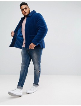 Asos Plus Borg Worker Jacket In Blue by Asos