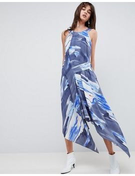 Asos Design Midi Dress In Abstract Print With Tab Side by Asos Design