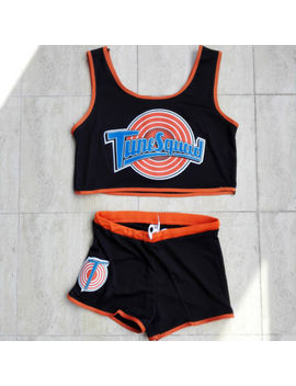 Space Jam Tune Squad Ladies Set Girls Black Basketball Jersey And Shorts by Unbranded