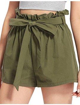 Romwe Women's Casual Elastic Waist Summer Shorts Jersey Walking Shorts by Romwe