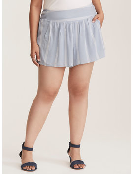 Blue & White Striped Gauze Flowy Smocked Shorts by Torrid