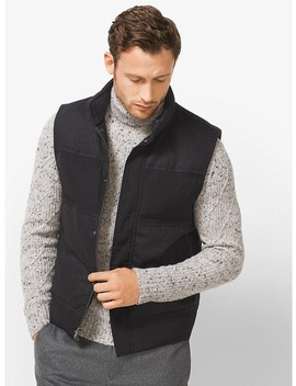 Quilted Mixed Media Vest by Michael Kors Mens
