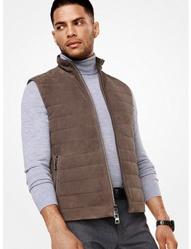 Quilted Suede Vest by Michael Kors Mens