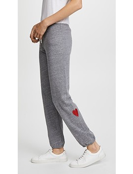 Sweats With Embroidered Hearts by Monrow