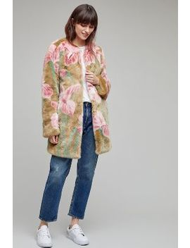 Iris Faux Fur Coat by Anthropologie