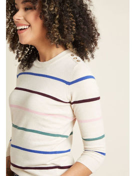 Charter School Pullover Sweater In Simple Stripes In Xs Charter School Pullover Sweater In Simple Stripes In Xs by Modcloth