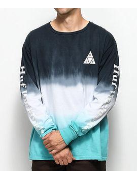 Huf Dip Dyed Aqua & White Long Sleeve T Shirt by Huf