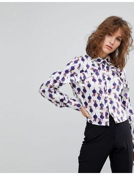 Lost Ink Cropped Blouse With Ruffle Shoulder Detail In Artist Print by Lost Ink.