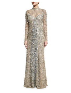 Leandra Long Sleeve Beaded Gown, Silver by Parker Black