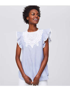 Crocheted Lace Flutter Top by Loft