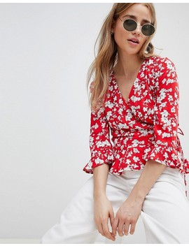 Pimkie Wrap Front Floral Blouse by Pimkie