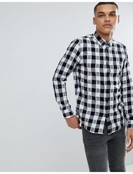 Pull&Bear Regular Fit Poplin Shirt In Black And White Check by Pull&Bear