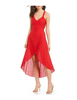 J.O.A. Eyelet Faux Wrap Hi Low Dress by J.O.A.
