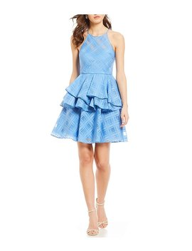 Belle Badgley Mischka Plaid Peplum Skirt Dress by Belle Badgley Mischka