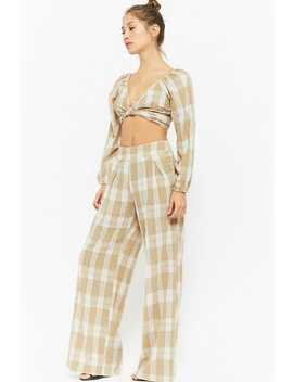 Buffalo Plaid Off The Shoulder Gauze Crop Top & Wide Leg Pants Set by F21 Contemporary