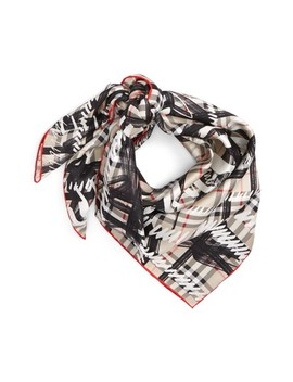Scribble Vintage Check Silk Square Scarf by Burberry