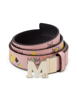 Essential Floral Flat M Logo Buckle Reversible Belt by Mcm