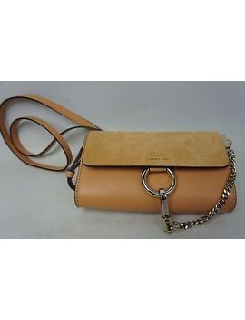 Chloe Mini Faye Suede & Leather Wallet On A Chain Cloudy Orange Crossbody Bag by Chloé